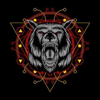 Lobo asesino con ilustración de geometría sagrada