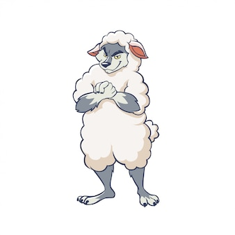 Lobo astuto de dibujos animados con ropa de ovejas ilustración gráfica