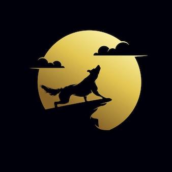 El lobo aúlla a la plantilla de diseño de logotipo de luna