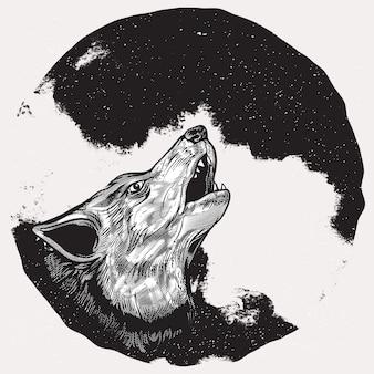 Lobo aullando en luna llena