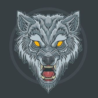 Lobo bestia cara enojada