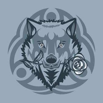 Lobo blanco con una rosa en boca y con signo tribal detrás.