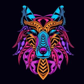 Lobo cabeza color neón estilo brillan en la oscuridad
