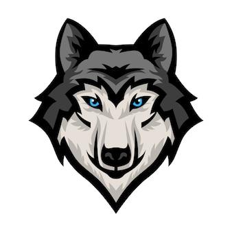 Lobo cabeza mascota vector logo