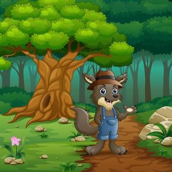 Lobo en la calle del bosque