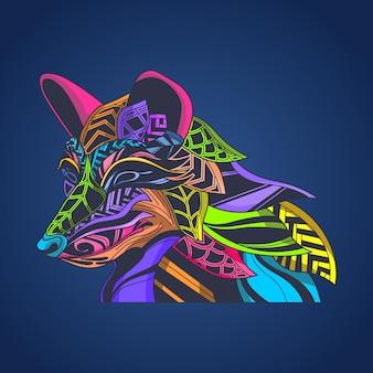 Lobo de color pop