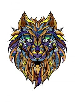 Lobo depredador ornamental vintage