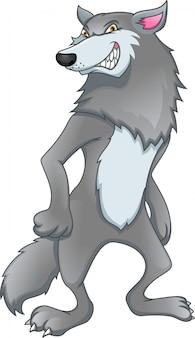 Lobo de dibujos animados sobre un fondo blanco.