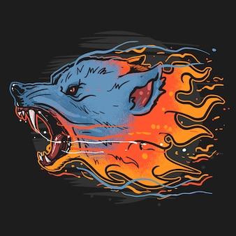 Lobo fuego bestia salvaje ilustraciones