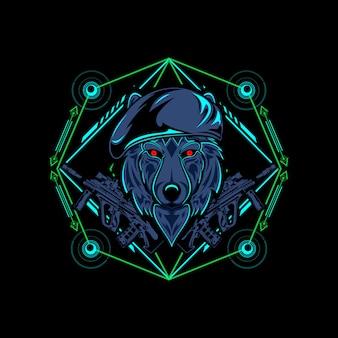 Lobo geometría sagrada en la oscuridad