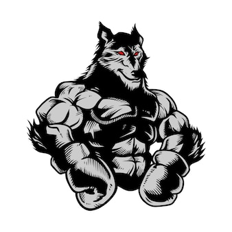 Lobo gimnasio boxeo dibujado a mano
