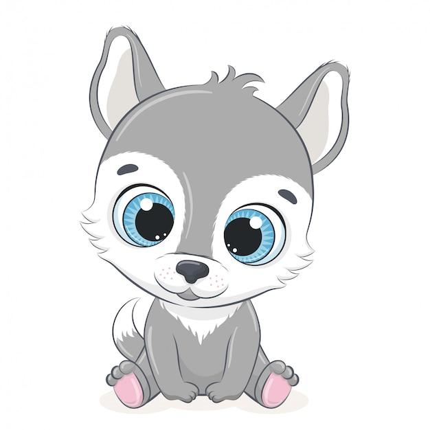 Lobo lindo bebé. ilustración
