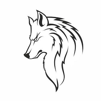 Lobo de moda monocromo vintage