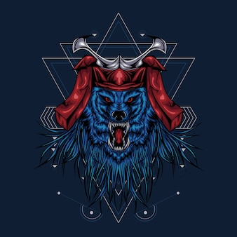 Lobo samurai ilustración gráfica geometría sagrada