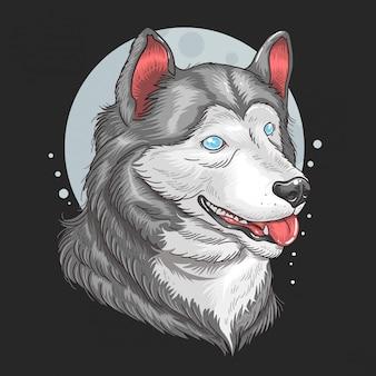 Lobo siberiano huskey ojos azules ilustraciones