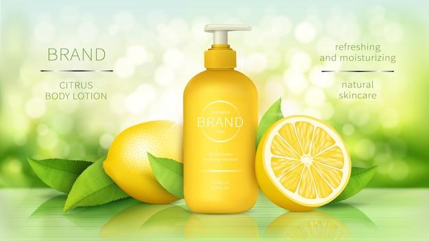 Loción corporal con limón, cosméticos para el cuidado de la piel, póster publicitario realista, botella dispensadora con humectante orgánico