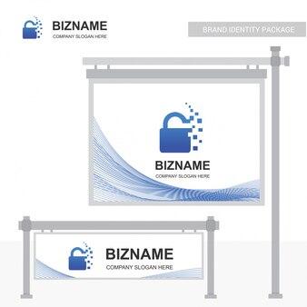 Lock logo de seguridad y diseño de cartelera