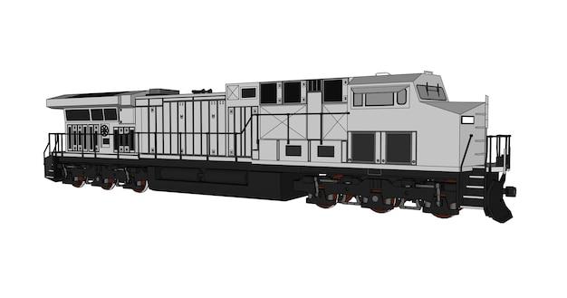 Locomotora ferroviaria diesel moderna con gran potencia y resistencia para mover trenes de ferrocarril largos y pesados. ilustración de vector con líneas de trazo de contorno