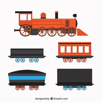 Locomotora plana con cuatro vagones