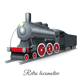 Locomotora retro del hierro del tren del vapor del estilo en el ferrocarril