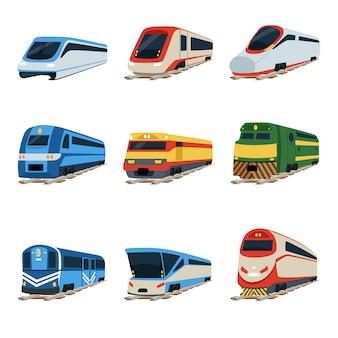 Locomotora de tren, ilustraciones de vagones de tren sobre un fondo blanco.