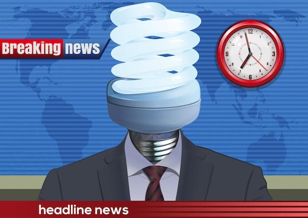 Locutor de noticias en el estudio con una bombilla en lugar de la cabeza.