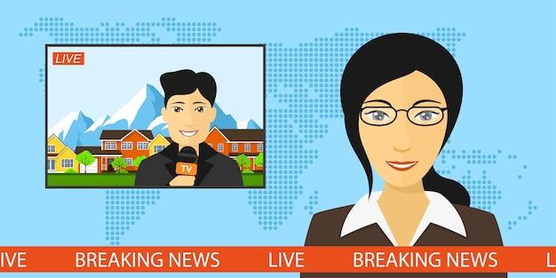 Locutor de noticias en el estudio con un reportero en vivo en pantalla, noticias de última hora y concepto de televisión con fondo de mapa del mundo, ilustración de estilo