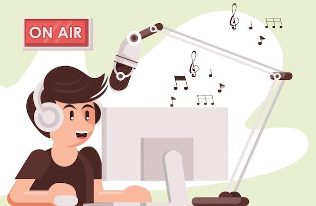 Locutor con radio, micrófono y auriculares.