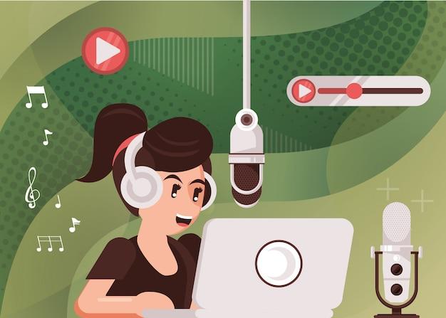 Locutora con radio micrófono y auriculares