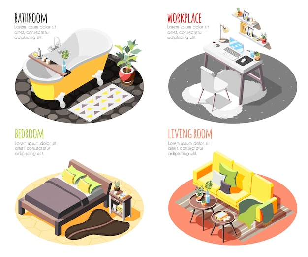 Loft interior isométrico 4x1 conjunto de composiciones con imágenes de manchas domésticas con muebles y texto.