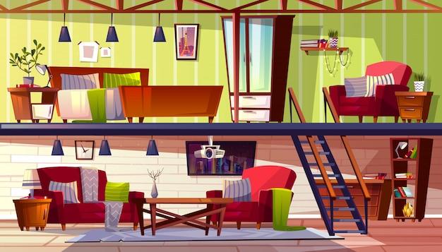 Loft salón o habitación interior de dos pisos, ilustración de dormitorio y gabinete.