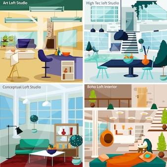 Loft studio card set