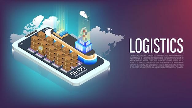 Logística de barcos en 3d por teléfono