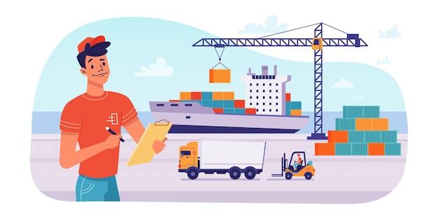 Logística de entrega por barco carga de paquetes en puerto
