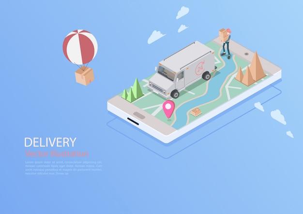 Logística y entrega de infografías. isométrico, camión, dron y repartidor. ilustración vectorial