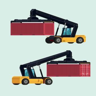 Logística de importación y exportación de carretillas elevadoras para la manipulación de contenedores. ilustración vectorial