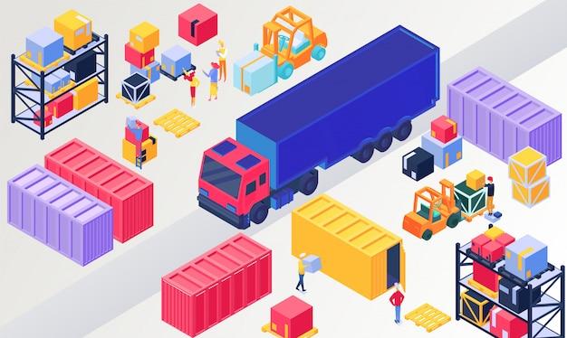 Logística isométrica, almacén, caja de carga de personas en palet, contenedores de embalaje de carácter de trabajador en camiones
