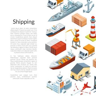 Logística marina isométrica y puerto marítimo