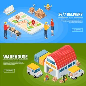 Logística pancartas horizontales camiones de reparto de almacén trabajadores embalados mercancías para servicio las 24 horas isométrica