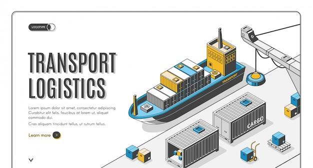Logística de transporte, empresa de entrega de puerto de barco