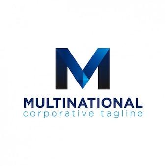 Logo abstracto azul con m geométrica