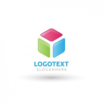 Logo abstracto y colorido de un cubo