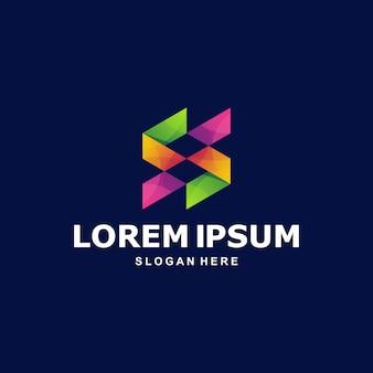 Logo abstracto colorido letra s premium