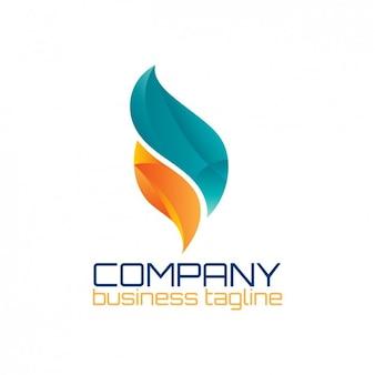 Logo abstracto con forma de llama