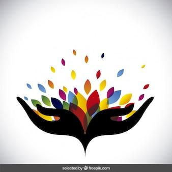 Logo abstracto con hojas de colores