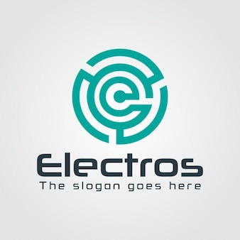 Logo abstracto laberinto con la letra e