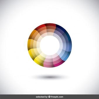 Logo abstracto multicolor con círculos concéntricos