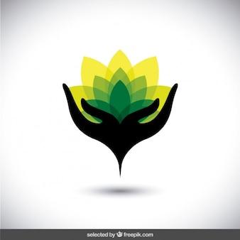 Logo abstracto de proteger el medio ambiente