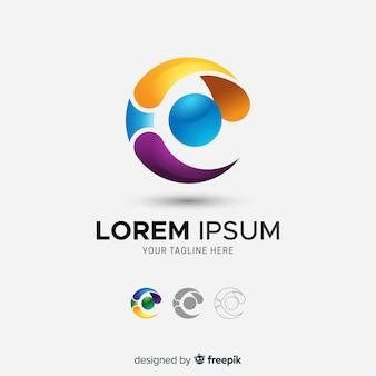 Logo abstracto tridimensional de empresa con degradado