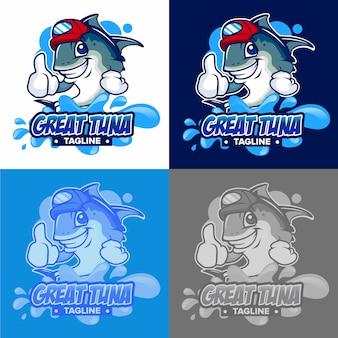 Logo de agua de dibujos animados de atún